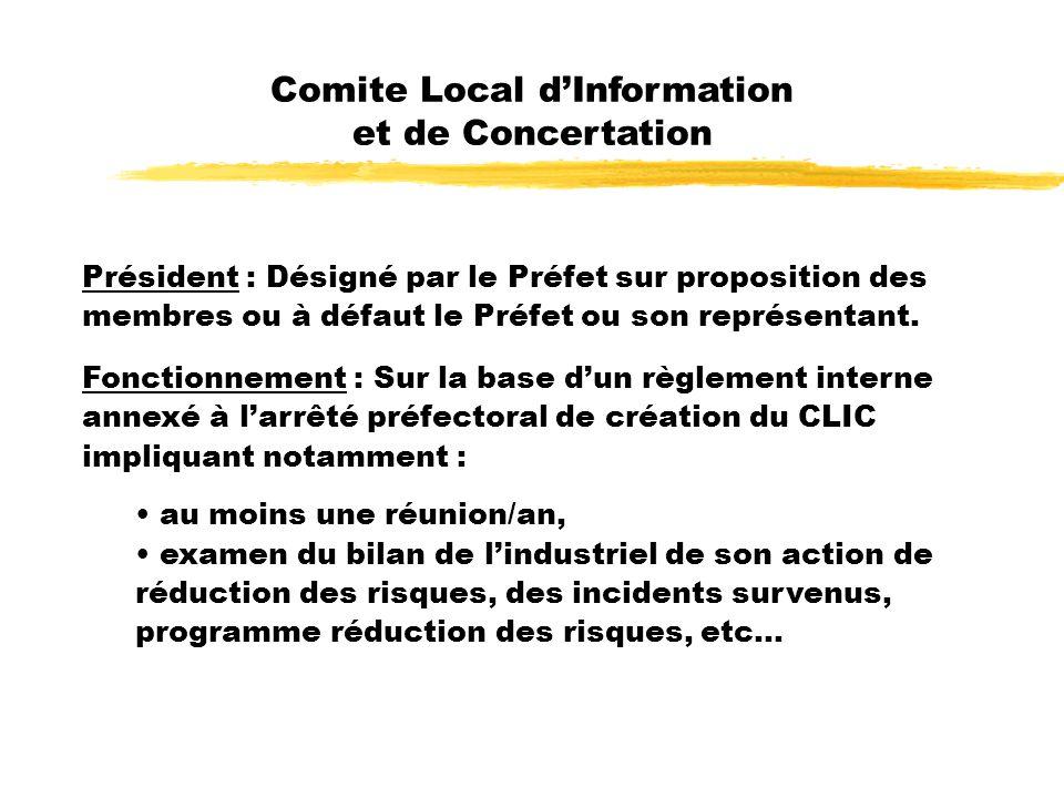 Comite Local dInformation et de Concertation Président : Désigné par le Préfet sur proposition des membres ou à défaut le Préfet ou son représentant.