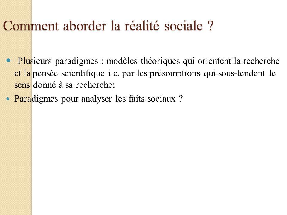 Comment aborder la réalité sociale ? Plusieurs paradigmes : modèles théoriques qui orientent la recherche et la pensée scientifique i.e. par les préso