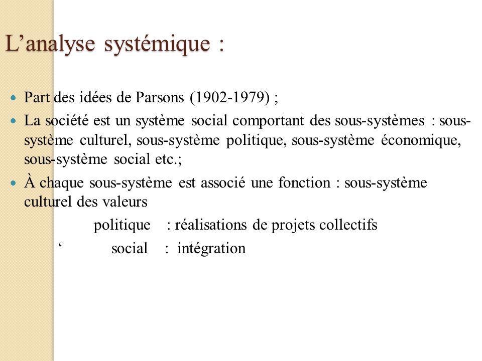 Lanalyse systémique : Part des idées de Parsons (1902-1979) ; La société est un système social comportant des sous-systèmes : sous- système culturel,