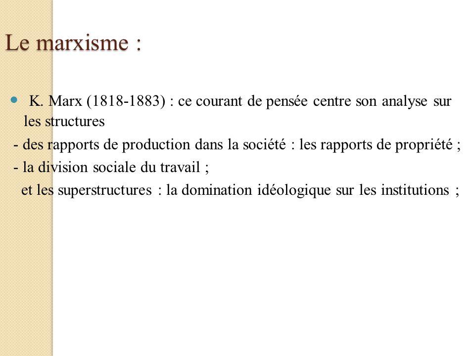 Le marxisme : K. Marx (1818-1883) : ce courant de pensée centre son analyse sur les structures - des rapports de production dans la société : les rapp