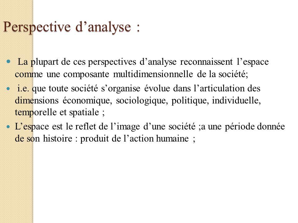 Perspective danalyse : La plupart de ces perspectives danalyse reconnaissent lespace comme une composante multidimensionnelle de la société; i.e. que