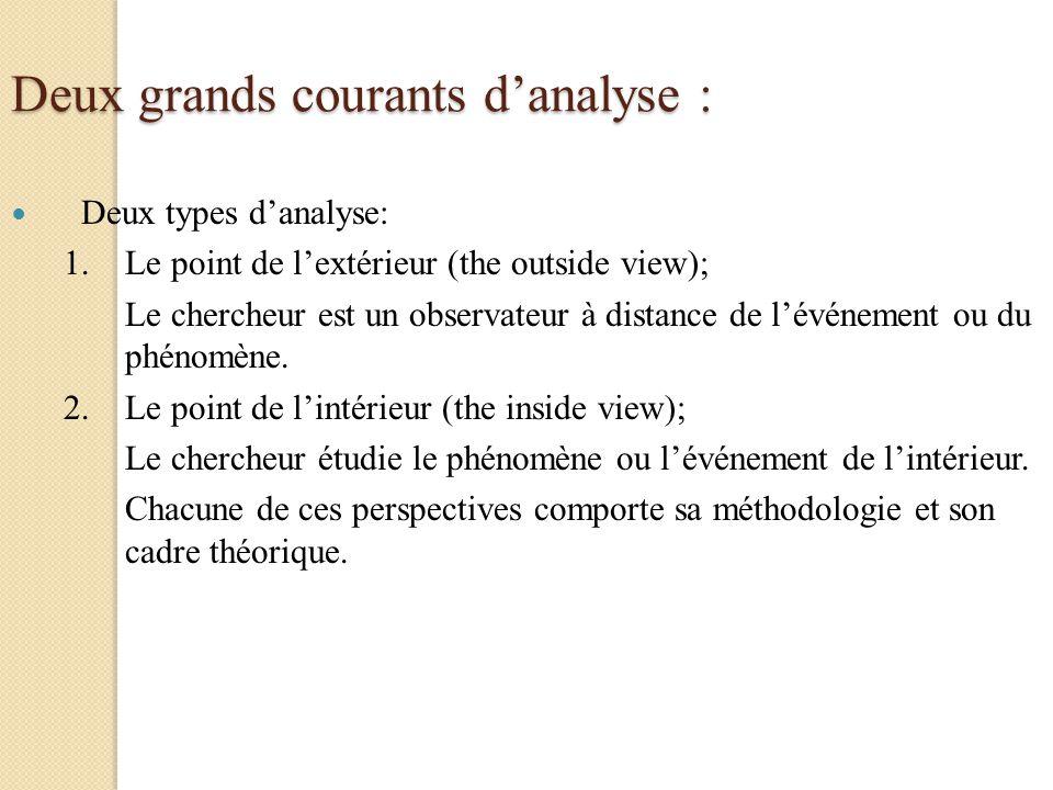 Deux grands courants danalyse : Deux types danalyse: 1.Le point de lextérieur (the outside view); Le chercheur est un observateur à distance de lévéne