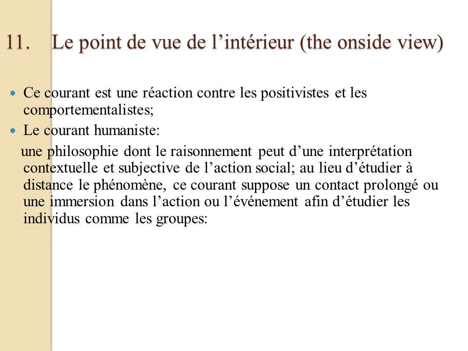 11.Le point de vue de lintérieur (the onside view) Ce courant est une réaction contre les positivistes et les comportementalistes; Le courant humanist