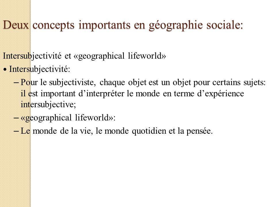 Deux concepts importants en géographie sociale: Intersubjectivité et «geographical lifeworld» Intersubjectivité: – Pour le subjectiviste, chaque objet