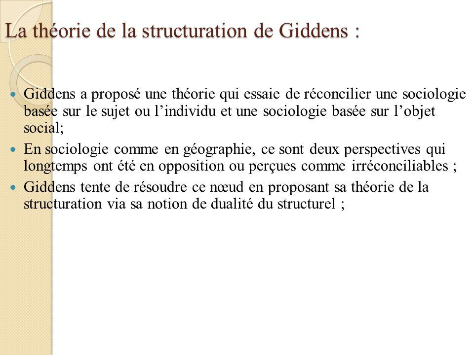 La théorie de la structuration de Giddens : Giddens a proposé une théorie qui essaie de réconcilier une sociologie basée sur le sujet ou lindividu et