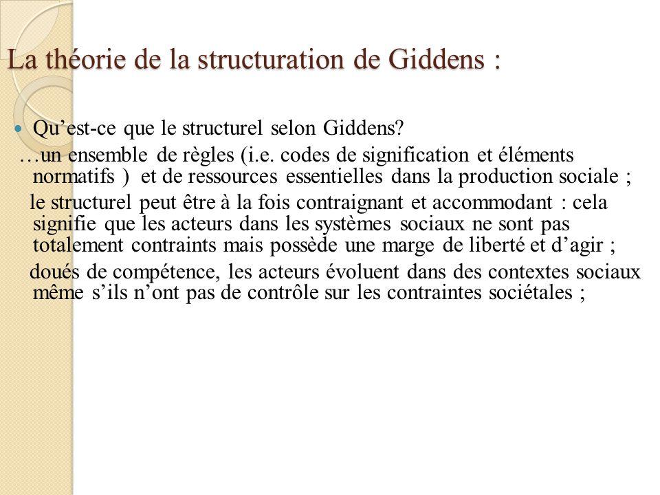 La théorie de la structuration de Giddens : Quest-ce que le structurel selon Giddens? …un ensemble de règles (i.e. codes de signification et éléments