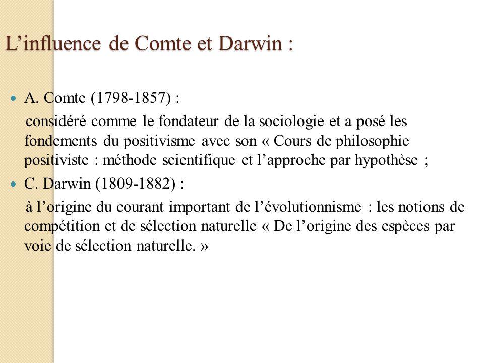 Linfluence de Comte et Darwin : A. Comte (1798-1857) : considéré comme le fondateur de la sociologie et a posé les fondements du positivisme avec son