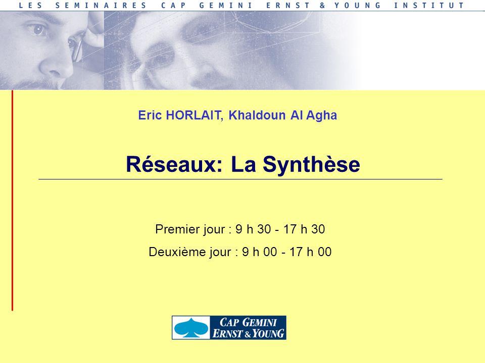 Premier jour : 9 h 30 - 17 h 30 Deuxième jour : 9 h 00 - 17 h 00 Eric HORLAIT, Khaldoun Al Agha Réseaux: La Synthèse