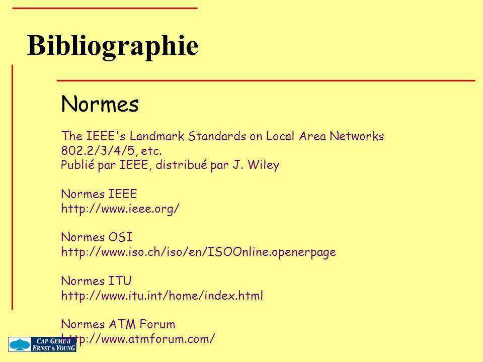 Bibliographie Normes The IEEE's Landmark Standards on Local Area Networks 802.2/3/4/5, etc. Publié par IEEE, distribué par J. Wiley Normes IEEE http:/