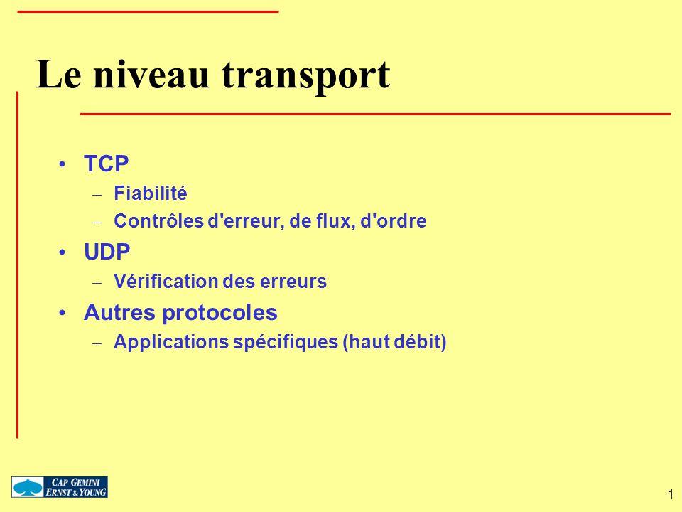 1 Le niveau transport TCP – Fiabilité – Contrôles d'erreur, de flux, d'ordre UDP – Vérification des erreurs Autres protocoles – Applications spécifiqu