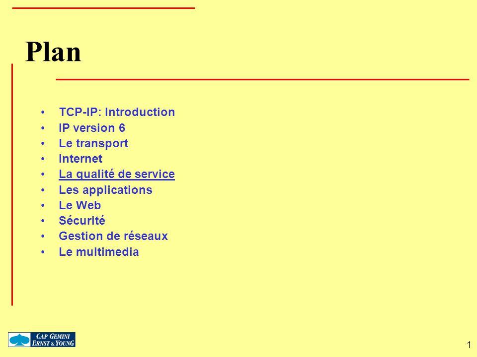 1 Plan TCP-IP: Introduction IP version 6 Le transport Internet La qualité de service Les applications Le Web Sécurité Gestion de réseaux Le multimedia