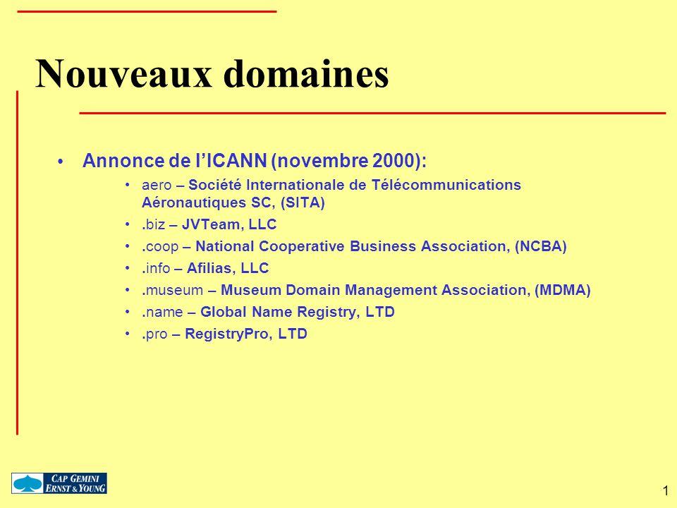 1 Nouveaux domaines Annonce de lICANN (novembre 2000): aero – Société Internationale de Télécommunications Aéronautiques SC, (SITA).biz – JVTeam, LLC.