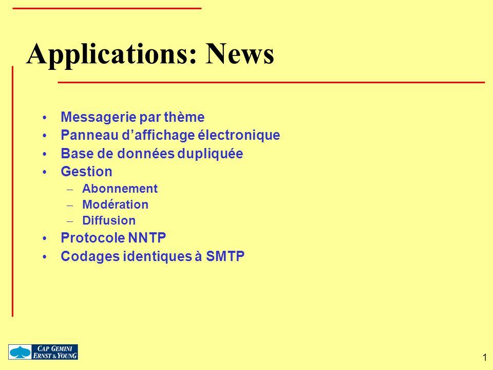 1 Applications: News Messagerie par thème Panneau daffichage électronique Base de données dupliquée Gestion – Abonnement – Modération – Diffusion Prot