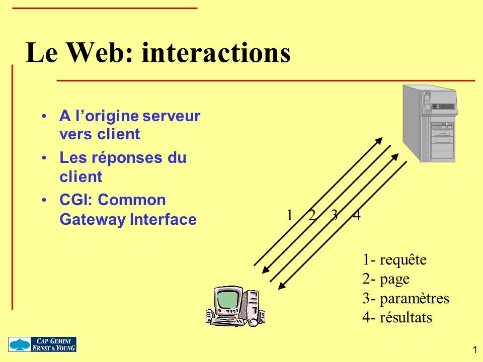 1 Le Web: interactions A lorigine serveur vers client Les réponses du client CGI: Common Gateway Interface 1234 1- requête 2- page 3- paramètres 4- ré