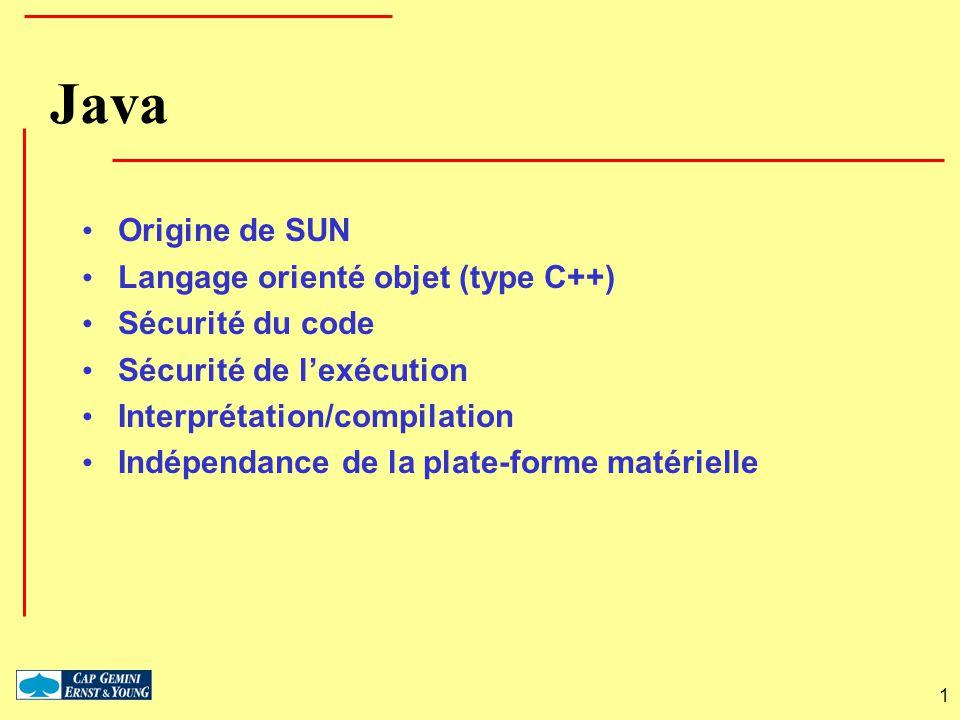 1 Java Origine de SUN Langage orienté objet (type C++) Sécurité du code Sécurité de lexécution Interprétation/compilation Indépendance de la plate-for