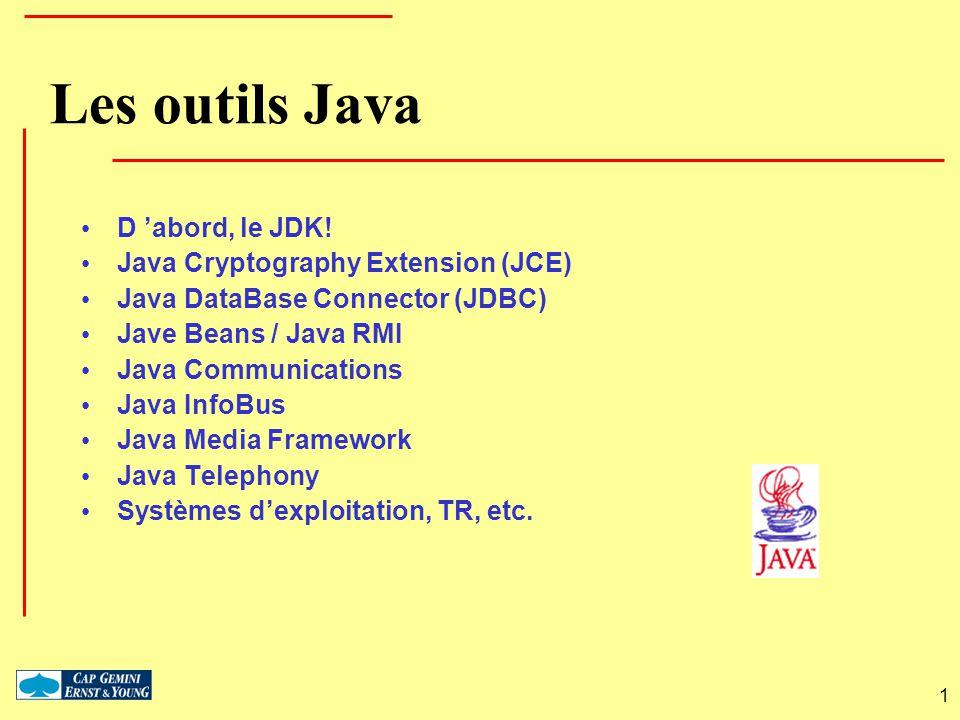 1 Les outils Java D abord, le JDK! Java Cryptography Extension (JCE) Java DataBase Connector (JDBC) Jave Beans / Java RMI Java Communications Java Inf