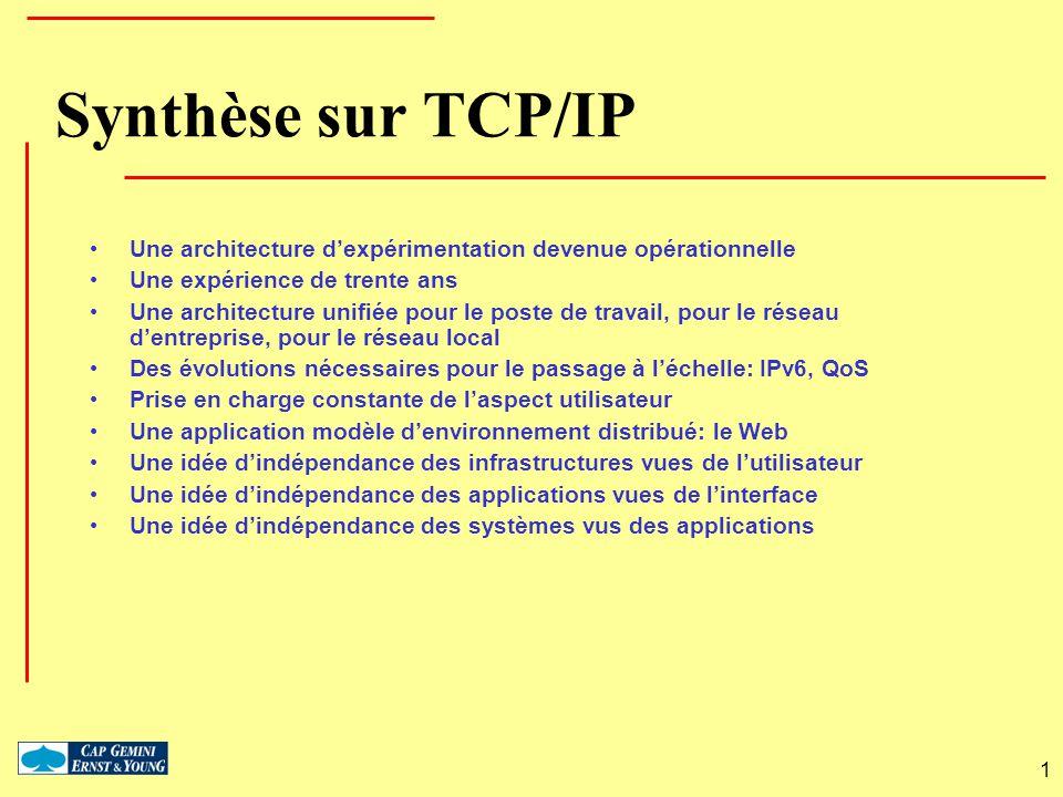 1 Synthèse sur TCP/IP Une architecture dexpérimentation devenue opérationnelle Une expérience de trente ans Une architecture unifiée pour le poste de