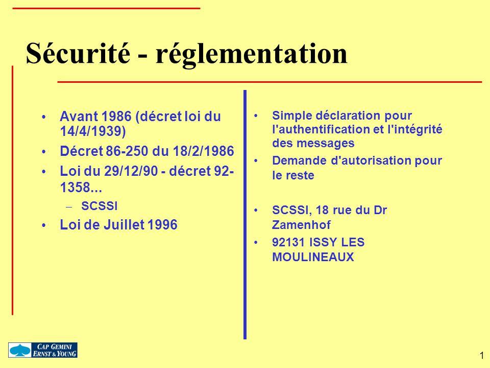 1 Sécurité - réglementation Avant 1986 (décret loi du 14/4/1939) Décret 86-250 du 18/2/1986 Loi du 29/12/90 - décret 92- 1358... – SCSSI Loi de Juille