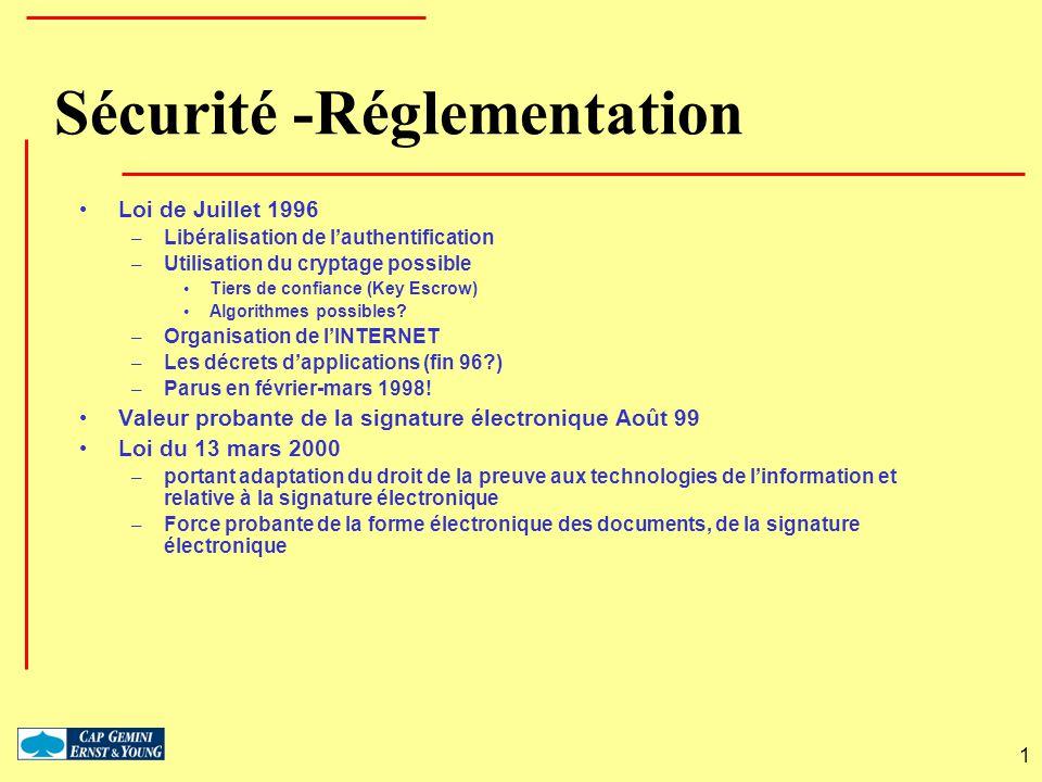 1 Sécurité -Réglementation Loi de Juillet 1996 – Libéralisation de lauthentification – Utilisation du cryptage possible Tiers de confiance (Key Escrow