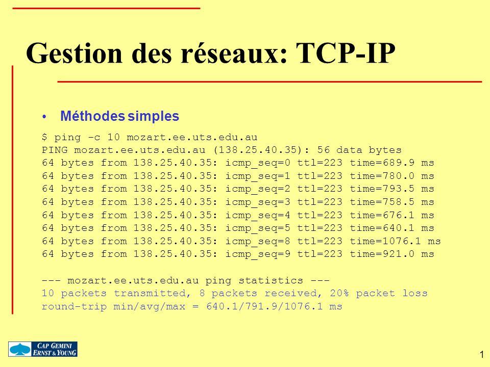 1 $ ping -c 10 mozart.ee.uts.edu.au PING mozart.ee.uts.edu.au (138.25.40.35): 56 data bytes 64 bytes from 138.25.40.35: icmp_seq=0 ttl=223 time=689.9