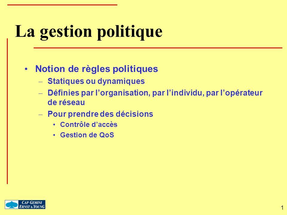 1 La gestion politique Notion de règles politiques – Statiques ou dynamiques – Définies par lorganisation, par lindividu, par lopérateur de réseau – P