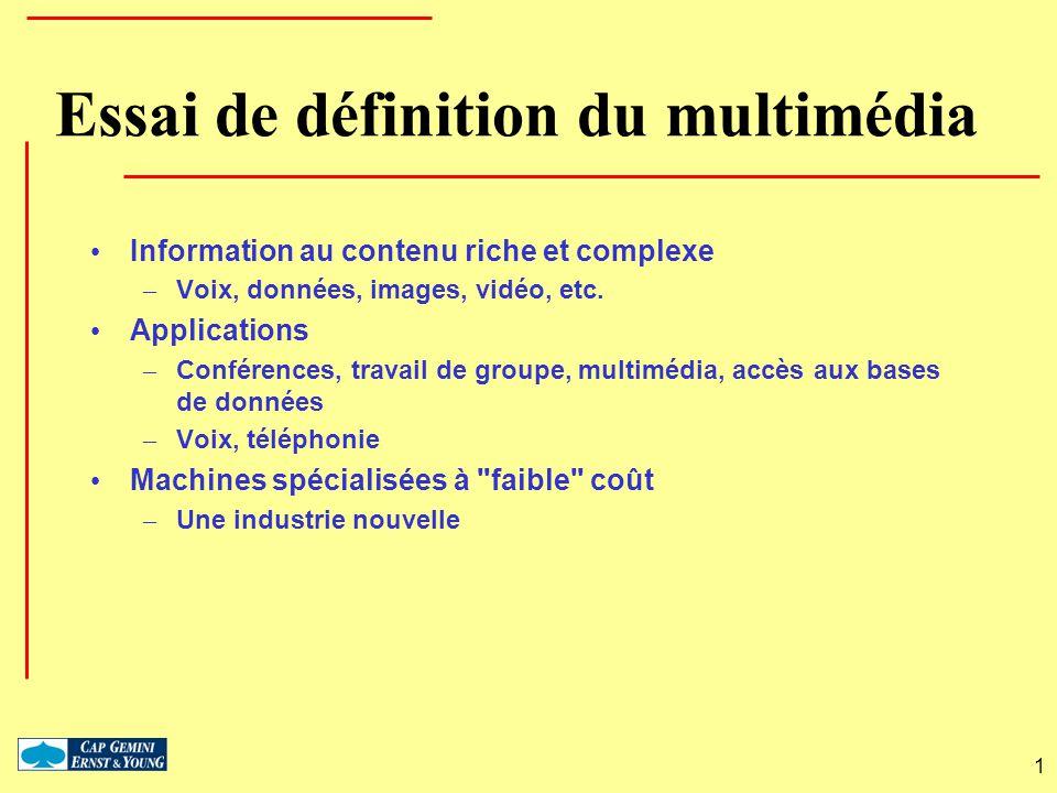 1 Essai de définition du multimédia Information au contenu riche et complexe – Voix, données, images, vidéo, etc. Applications – Conférences, travail