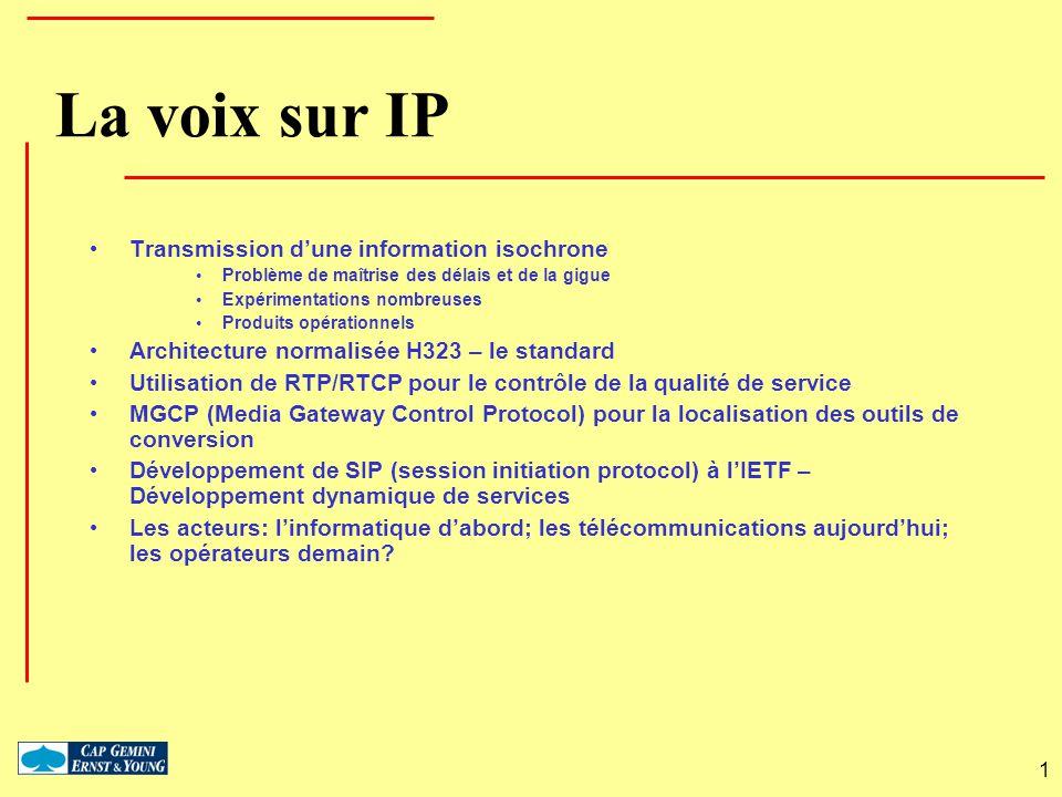 1 La voix sur IP Transmission dune information isochrone Problème de maîtrise des délais et de la gigue Expérimentations nombreuses Produits opération