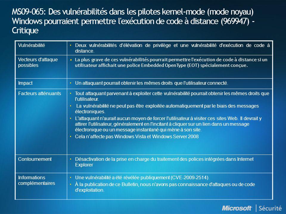 MS09-065: Des vulnérabilités dans les pilotes kernel-mode (mode noyau) Windows pourraient permettre l exécution de code à distance (969947) - Critique VulnérabilitéDeux vulnérabilités délévation de privilège et une vulnérabilité d exécution de code à distance.