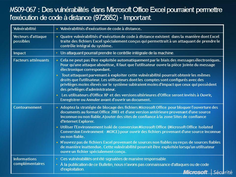 MS09-067 : Des vulnérabilités dans Microsoft Office Excel pourraient permettre l exécution de code à distance (972652) - Important VulnérabilitéVulnérabilités d exécution de code à distance.