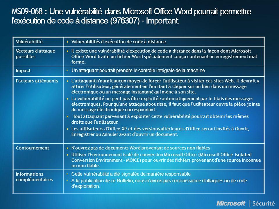 MS09-068 : Une vulnérabilité dans Microsoft Office Word pourrait permettre l exécution de code à distance (976307) - Important VulnérabilitéVulnérabilités d exécution de code à distance.