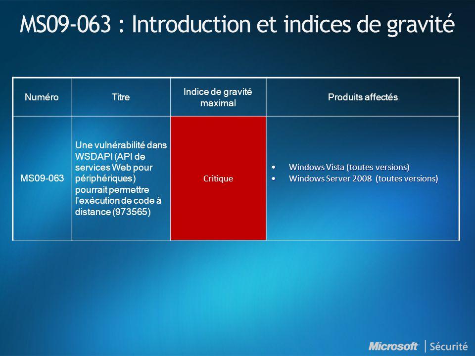MS09-063 : Introduction et indices de gravité NuméroTitre Indice de gravité maximal Produits affectés MS09-063 Une vulnérabilité dans WSDAPI (API de services Web pour périphériques) pourrait permettre l exécution de code à distance (973565) Critique Windows Vista (toutes versions)Windows Vista (toutes versions) Windows Server 2008 (toutes versions)Windows Server 2008 (toutes versions)