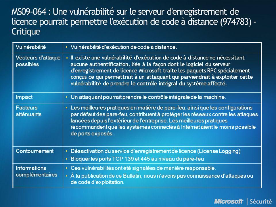 MS09-064 : Une vulnérabilité sur le serveur d enregistrement de licence pourrait permettre l exécution de code à distance (974783) - Critique VulnérabilitéVulnérabilité d exécution de code à distance.
