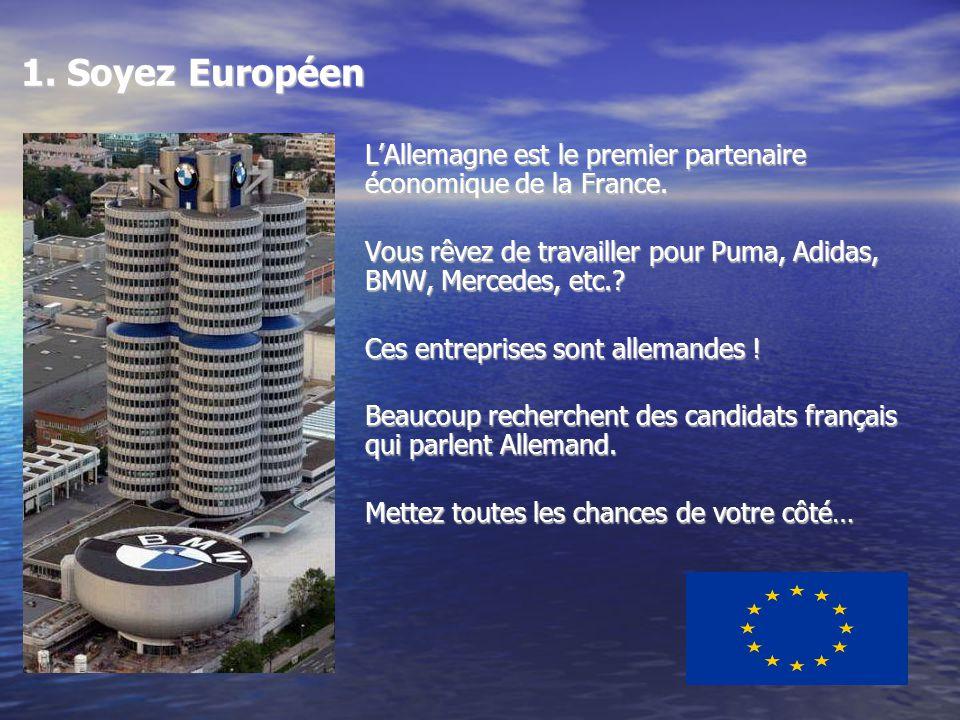 1. Soyez Européen LAllemagne est le premier partenaire économique de la France.