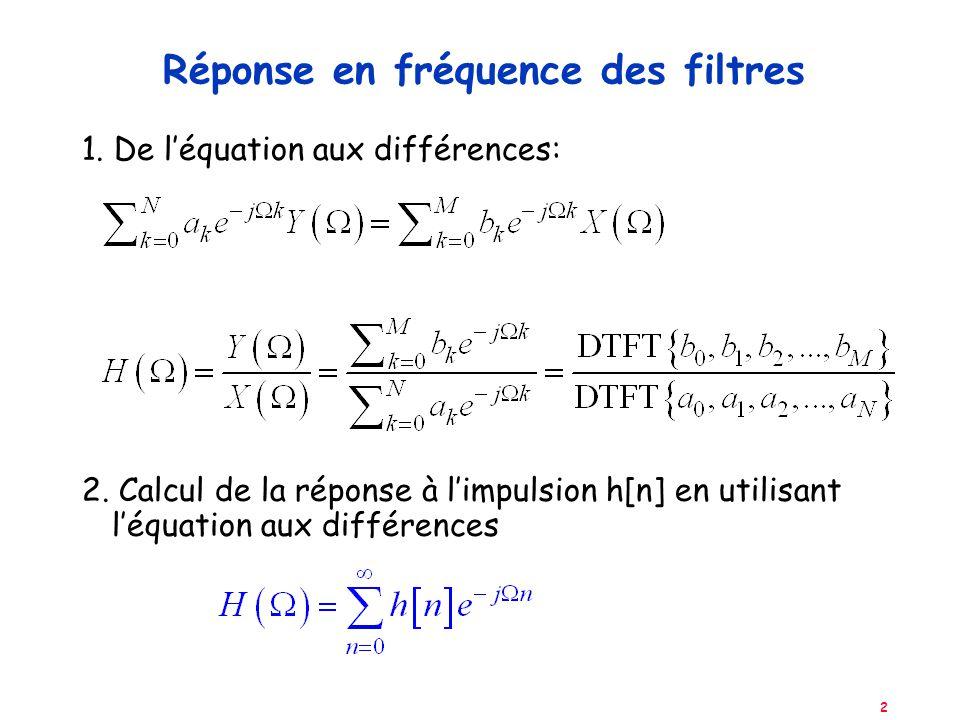2 Réponse en fréquence des filtres 1. De léquation aux différences: 2. Calcul de la réponse à limpulsion h[n] en utilisant léquation aux différences