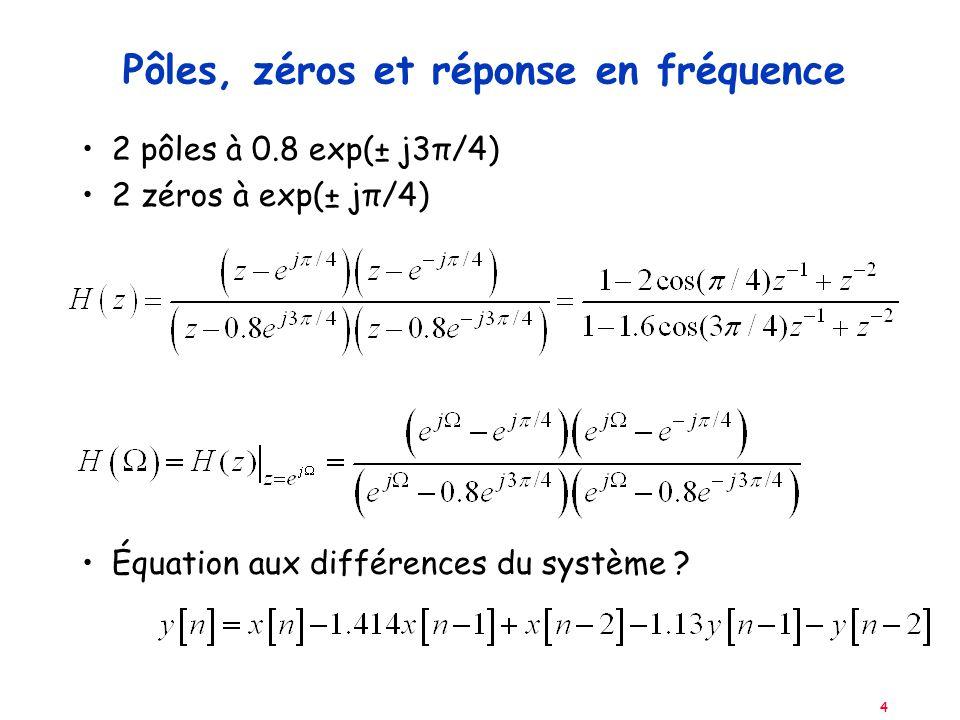 4 Pôles, zéros et réponse en fréquence 2 pôles à 0.8 exp(± j3π/4) 2 zéros à exp(± jπ/4) Équation aux différences du système ?