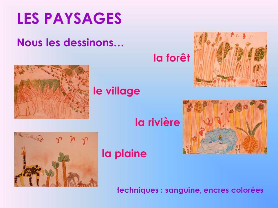 LES PAYSAGES Nous les dessinons… la forêt le village la rivière la plaine techniques : sanguine, encres colorées