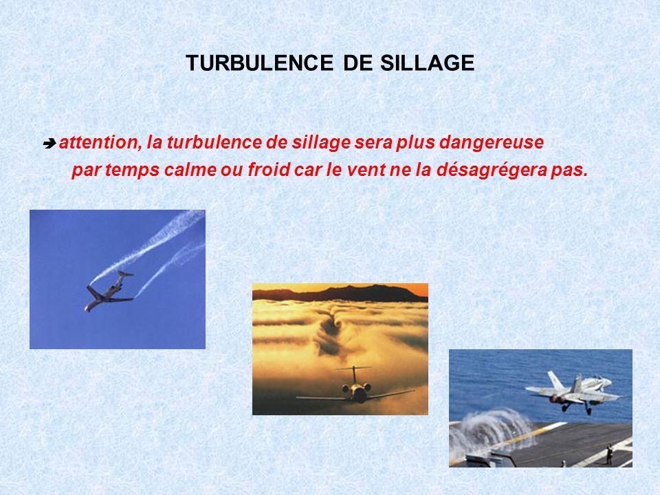 TURBULENCE DE SILLAGE attention, la turbulence de sillage sera plus dangereuse par temps calme ou froid car le vent ne la désagrégera pas.
