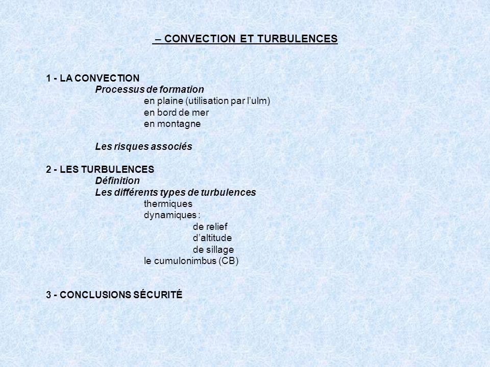 1 - LA CONVECTION Processus de formation en plaine (utilisation par lulm) en bord de mer en montagne Les risques associés 2 - LES TURBULENCES Définiti