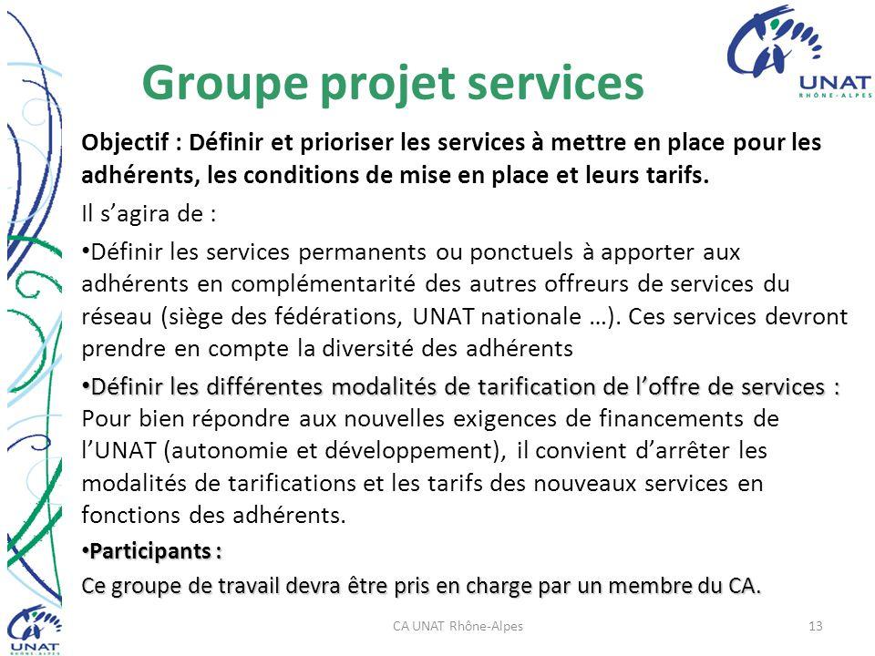 Groupe projet services Objectif : Définir et prioriser les services à mettre en place pour les adhérents, les conditions de mise en place et leurs tarifs.