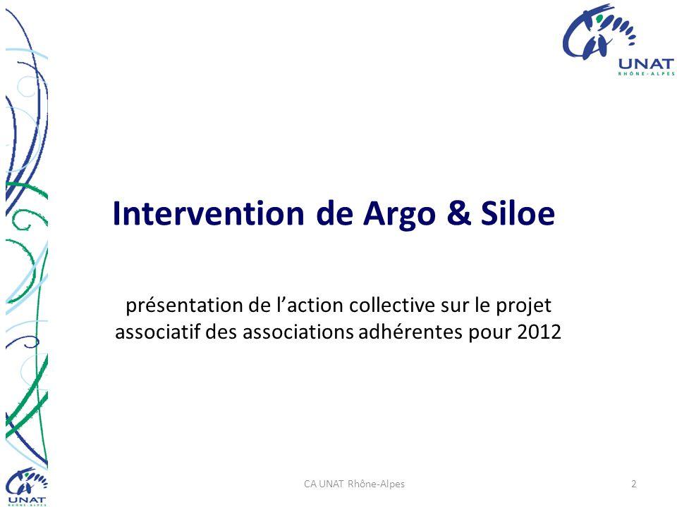 Intervention de Argo & Siloe présentation de laction collective sur le projet associatif des associations adhérentes pour 2012 CA UNAT Rhône-Alpes2