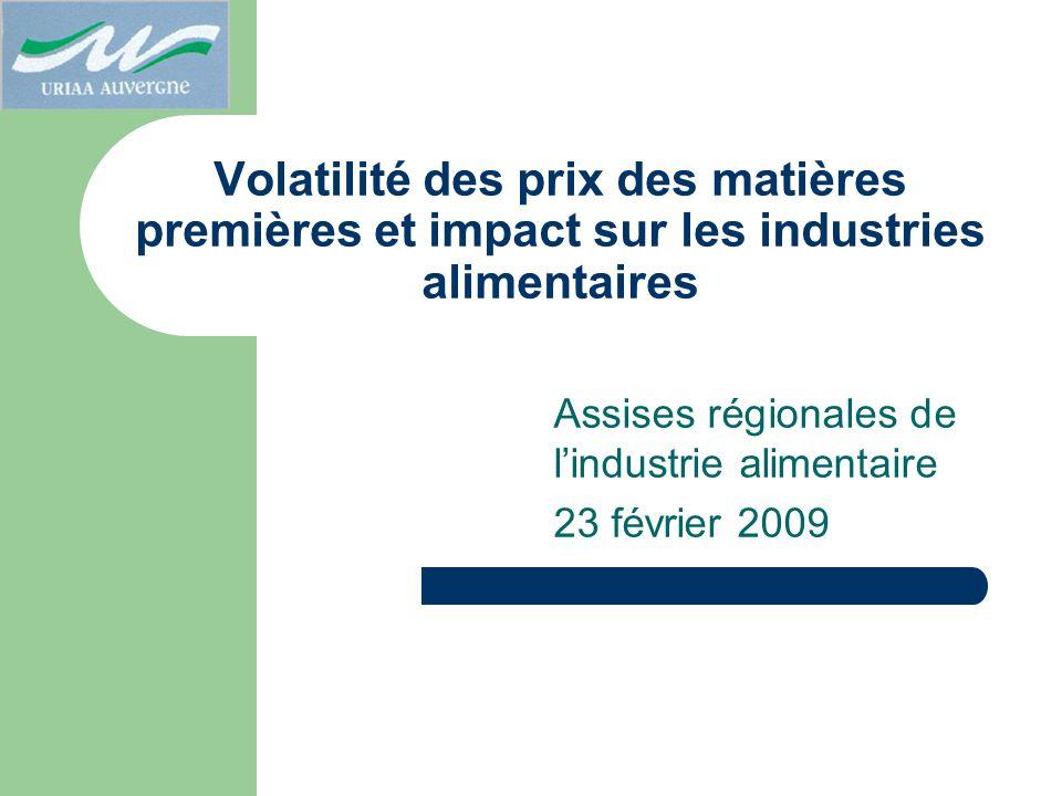 Volatilité des prix des matières premières et impact sur les industries alimentaires Assises régionales de lindustrie alimentaire 23 février 2009