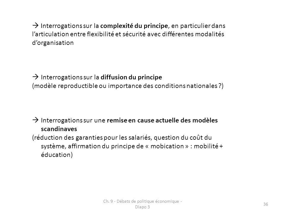 Ch. 9 - Débats de politique économique - Diapo 3 36 Interrogations sur la complexité du principe, en particulier dans larticulation entre flexibilité