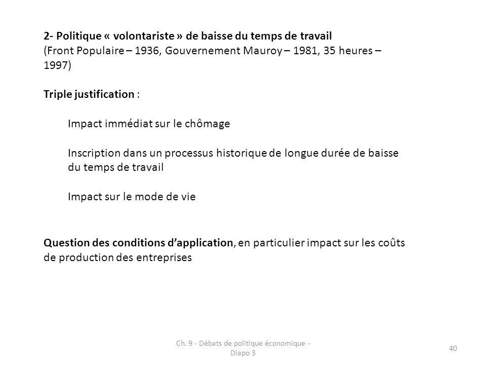 Ch. 9 - Débats de politique économique - Diapo 3 40 2- Politique « volontariste » de baisse du temps de travail (Front Populaire – 1936, Gouvernement