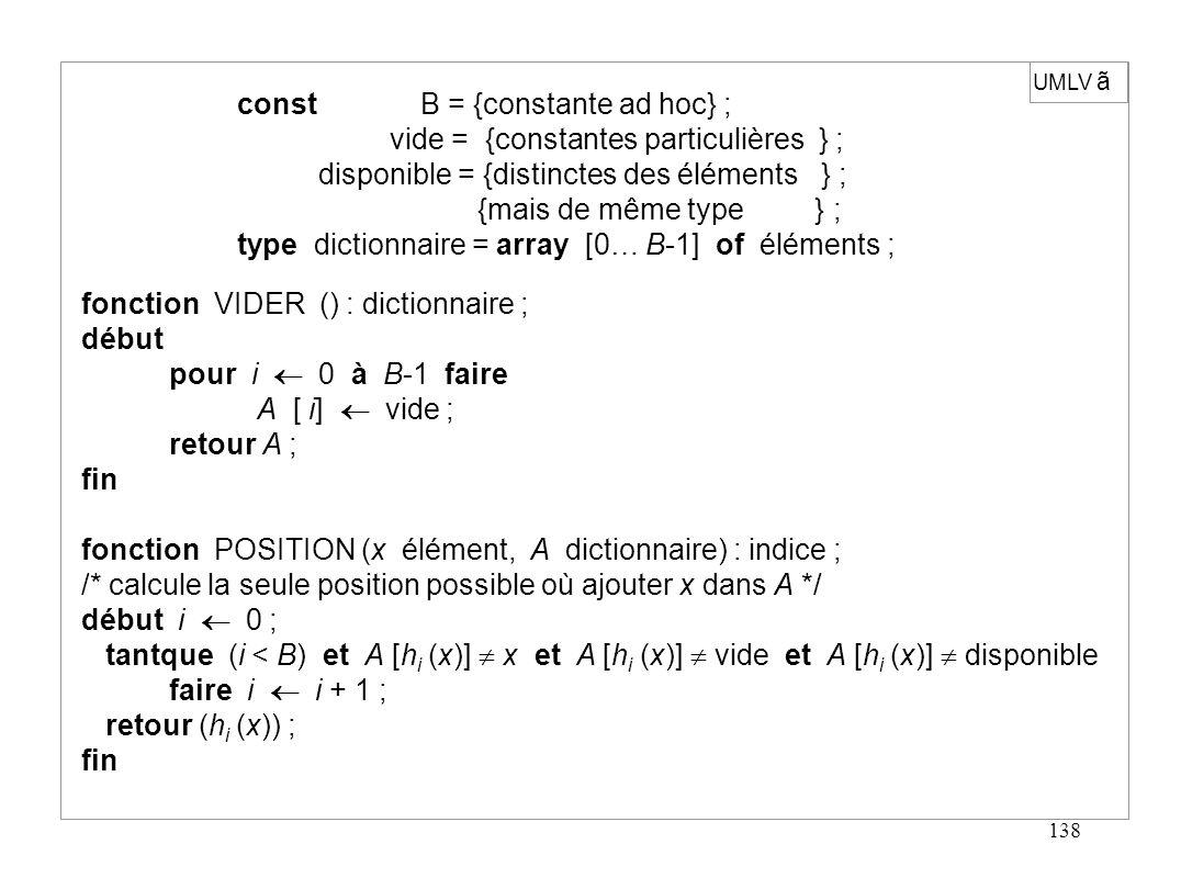 138 UMLV ã const B = {constante ad hoc} ; vide = {constantes particulières } ; disponible = {distinctes des éléments } ; {mais de même type } ; type d