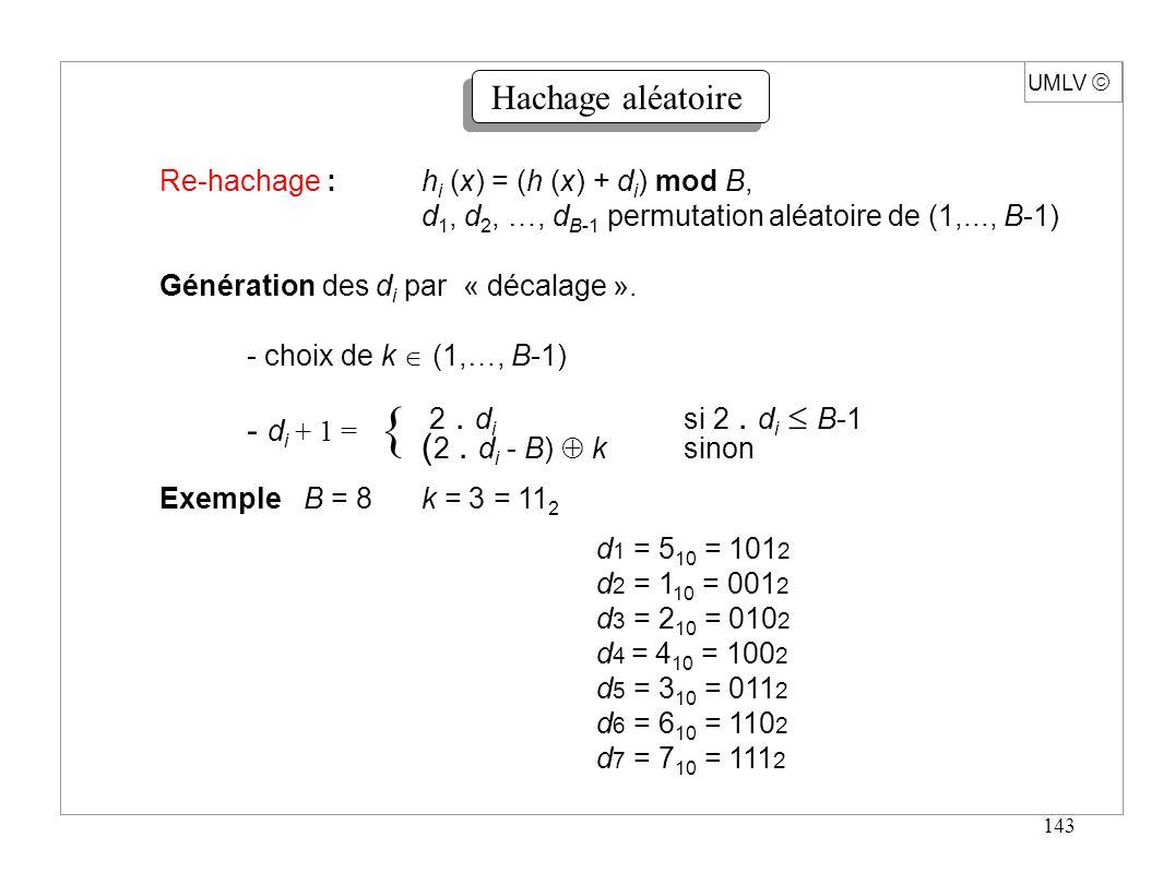 143 UMLV Hachage aléatoire Re-hachage :h i (x) = (h (x) + d i ) mod B, d 1, d 2, …, d B-1 permutation aléatoire de (1,..., B-1) Génération des d i par