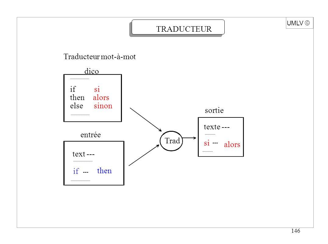 146 Traducteur mot-à-mot dico if si then alors else sinon entrée text --- if --- then sortie texte --- Trad si --- alors UMLV TRADUCTEUR