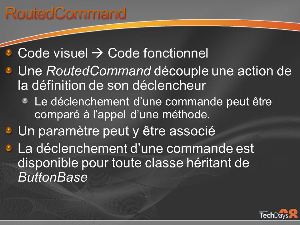 Code visuel Code fonctionnel Une RoutedCommand découple une action de la définition de son déclencheur Le déclenchement dune commande peut être comparé à lappel dune méthode.