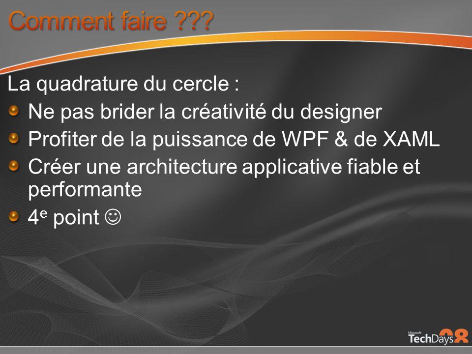 La quadrature du cercle : Ne pas brider la créativité du designer Profiter de la puissance de WPF & de XAML Créer une architecture applicative fiable et performante 4 e point