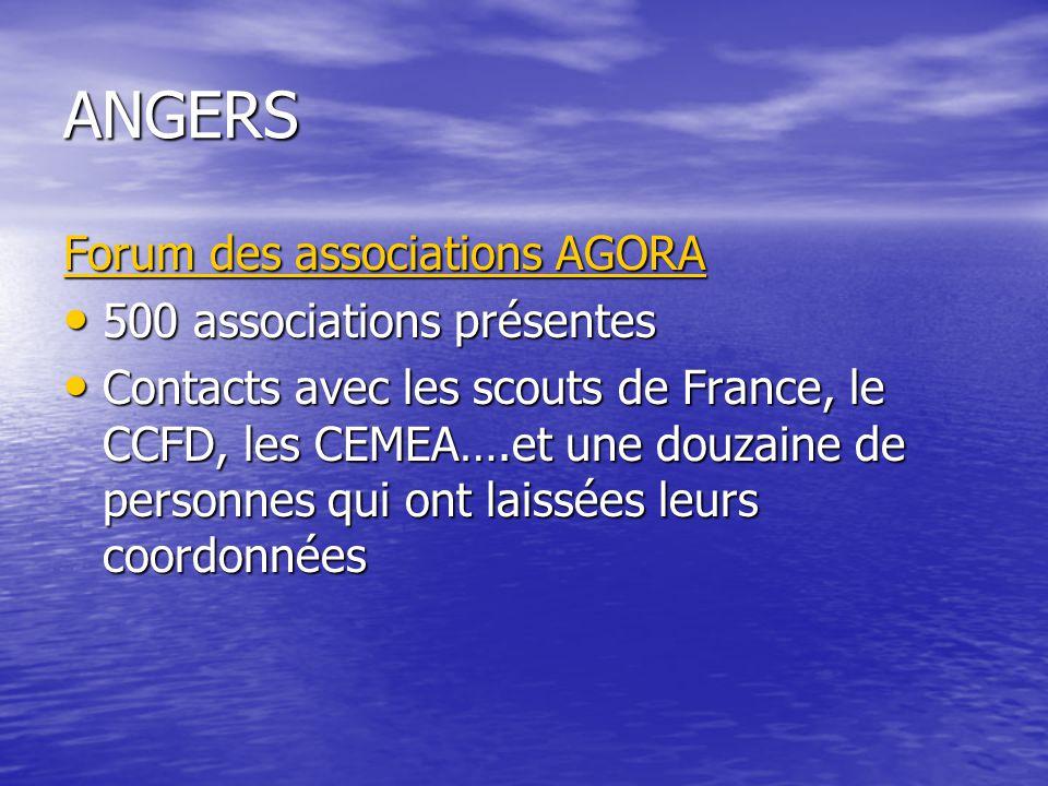 ANGERS Forum des associations AGORA 500 associations présentes 500 associations présentes Contacts avec les scouts de France, le CCFD, les CEMEA….et une douzaine de personnes qui ont laissées leurs coordonnées Contacts avec les scouts de France, le CCFD, les CEMEA….et une douzaine de personnes qui ont laissées leurs coordonnées