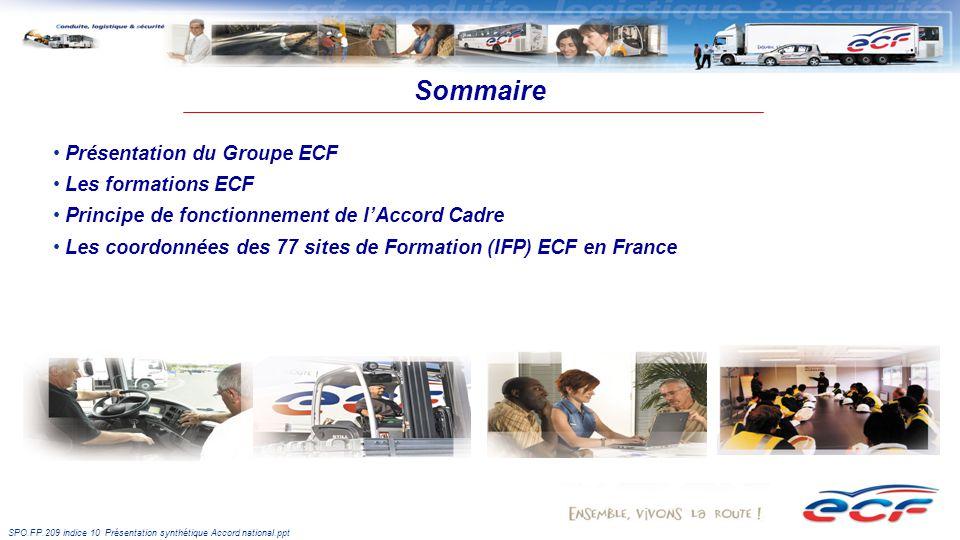 SPO.FP.209 indice 10 Présentation synthétique Accord national.ppt Sommaire Présentation du Groupe ECF Les formations ECF Principe de fonctionnement de lAccord Cadre Les coordonnées des 77 sites de Formation (IFP) ECF en France